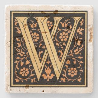 Vintage Zwarte & Gouden Brief ` W' Stenen Onderzetter
