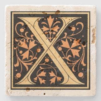 Vintage Zwarte & Gouden Brief ` X' Stenen Onderzetter