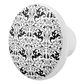 Vintage Zwarte Witte Werveling Keramische Knop