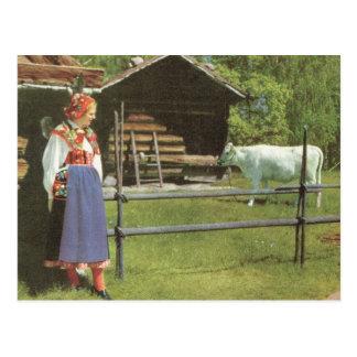 Vintage Zweden, Traditionele boerenerfscène Briefkaart