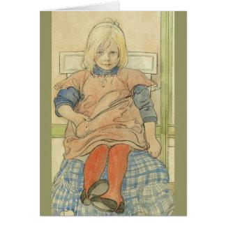 Vintage Zweeds Meisje op de Stoel van de Plaid Briefkaarten 0