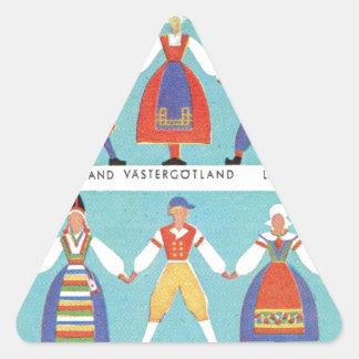 Vintage Zweedse regionale kostuums Driehoekvormige Sticker