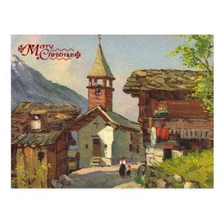 Vintage Zwitserland, het dorp van A in Valais Briefkaart