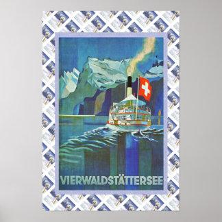 Vintage Zwitsers Poster Vierwaldstattersee