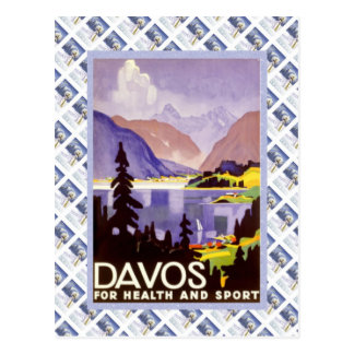 Vintage Zwitsers Raulway Poster, Davos voor Briefkaart