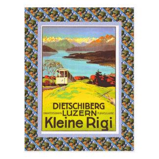 Vintage Zwitsers Raulway Poster, Dietschiberg, Briefkaart