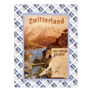 Vintage Zwitsers Raulway Poster, het Juragebergte Briefkaart