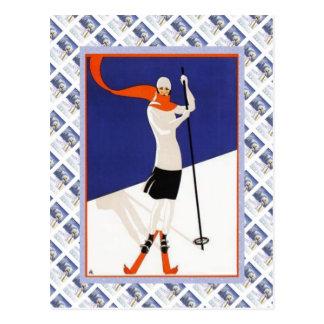 Vintage Zwitsers Raulway Poster, Ski Briefkaart