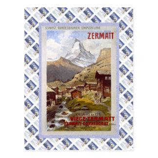 Vintage Zwitsers Raulway Poster, Zermatt Briefkaart
