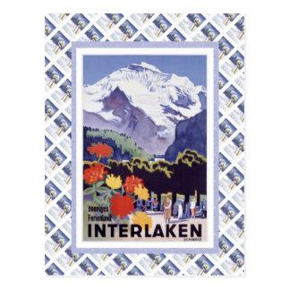 Vintage Zwitserse Spoorweg Luzern Interlaken Briefkaart
