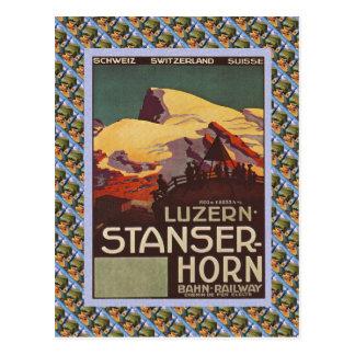 Vintage Zwitserse Spoorweg Luzern Stanzerhorn Briefkaart