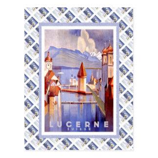 Vintage Zwitserse Spoorweg Luzern Suisse Briefkaart