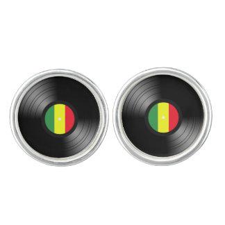 Vinyl reggae manchetknopen