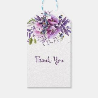 Violette Paarse Bloemen van de Lavendel dankt u | Cadeaulabel
