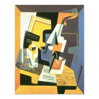 Viool en Glas door Juan Gris, Vintage Kubisme 10,8x13,9 Uitnodiging Kaart