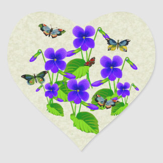 Viooltjes en Vlinders Hart Sticker
