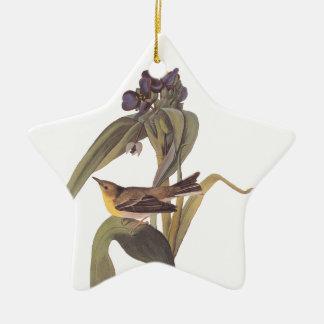 Vireo van de Kracht van Audubon met Paarse Bloem Keramisch Ster Ornament