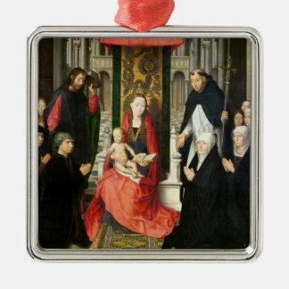 Virgin en het Kind met St. James & St. Dominic Zilverkleurig Vierkant Ornament