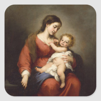 Virgin en Kind Vierkante Sticker