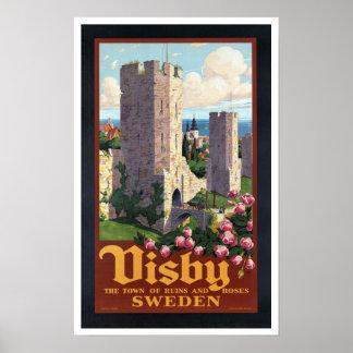 Visby Zweden - Vintage Reis Poster