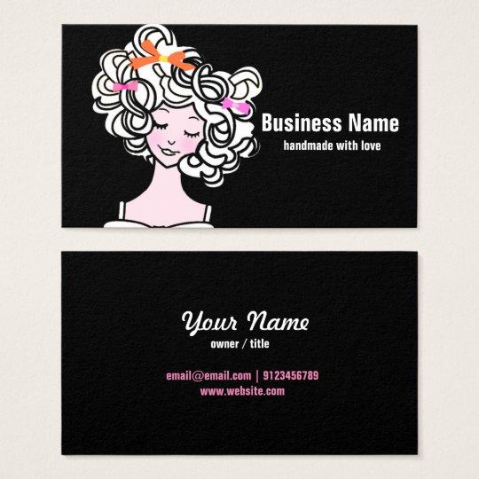 visitekaartje - vrouw, mode, meisje, haarboog visitekaartjes