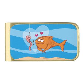 Vissen en Aas in Liefde Vergulde Geldclip