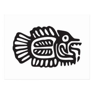 Vissen, Mexicaanse hiëroglief (Maya) Briefkaart