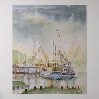 Vissersboten in Van de Oost- haven van de Rogge Poster
