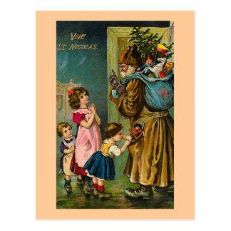 """""""Vive St. Nicolas"""" Vintage Frans Briefkaart"""