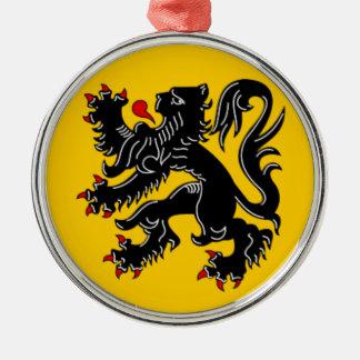 Vlaanderen (Vlaanderen) Zilverkleurig Rond Ornament
