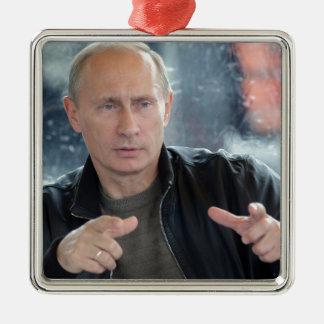 Vladimir Putin Zilverkleurig Vierkant Ornament