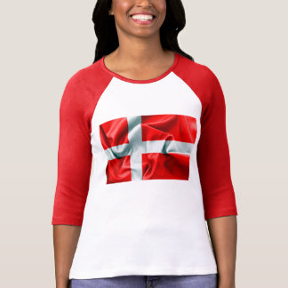 Vlag 3/4 van Denemarken de T-shirt van het Sleeve