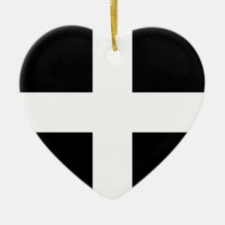Vlag de van Cornwall van Heilige Piran - Vlag van Keramisch Hart Ornament