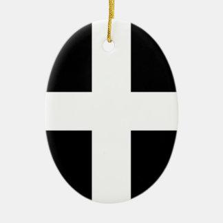 Vlag de van Cornwall van Heilige Piran - Vlag van Keramisch Ovaal Ornament