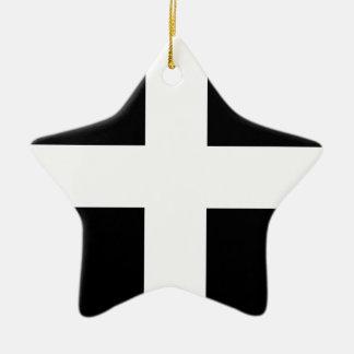 Vlag de van Cornwall van Heilige Piran - Vlag van Keramisch Ster Ornament