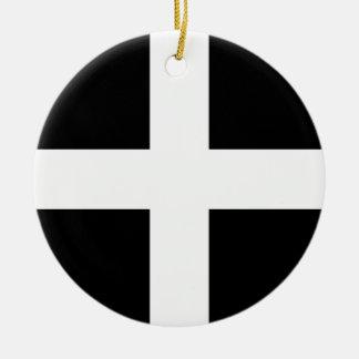 Vlag de van Cornwall van Heilige Piran - Vlag van Rond Keramisch Ornament