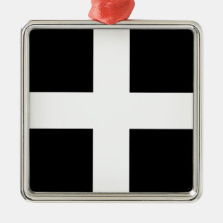 Vlag de van Cornwall van Heilige Piran - Vlag van Zilverkleurig Vierkant Ornament
