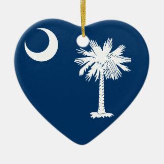Vlag de Zuid- van Carolina Keramisch Hart Ornament