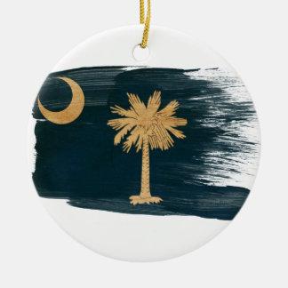 Vlag de Zuid- van Carolina Rond Keramisch Ornament