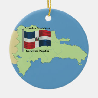 Vlag en Kaart van de Dominicaanse Republiek Rond Keramisch Ornament