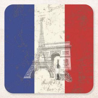Vlag en Symbolen van Frankrijk ID156 Vierkante Onderzetter