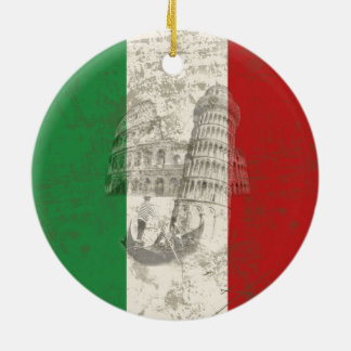 Vlag en Symbolen van Italië ID157 Rond Keramisch Ornament