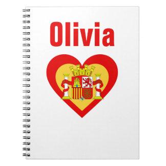 Vlag-geïnspireerde Personnalised van Spanje/het Notitieboek