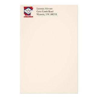 Vlag in Kaart van Arkansas Aangepast Briefpapier