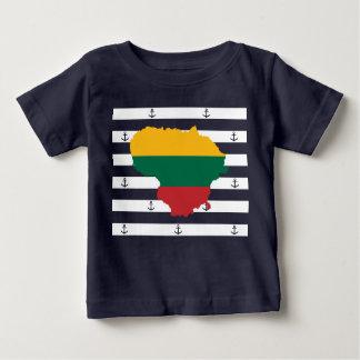 Vlag/kaart van Litouwen op gestreepte achtergrond Baby T Shirts