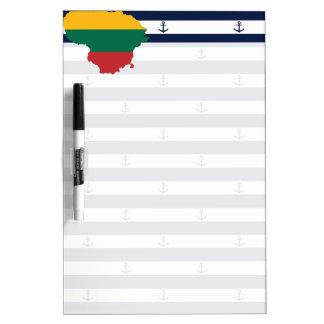 Vlag/kaart van Litouwen op gestreepte achtergrond Whiteboards