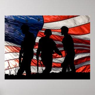 Vlag met het Poster van het Silhouet van de Milita