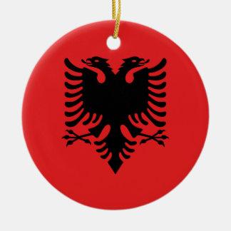 Vlag van Albanië - Flamuri i Shqipërisë Rond Keramisch Ornament
