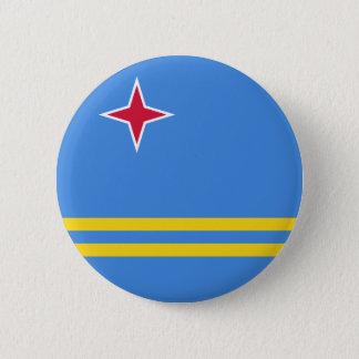 Vlag van Aruba (Nederland) op het Kenteken van de Ronde Button 5,7 Cm