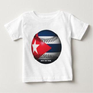 Vlag van Cuba op een Honkbal Baby T Shirts